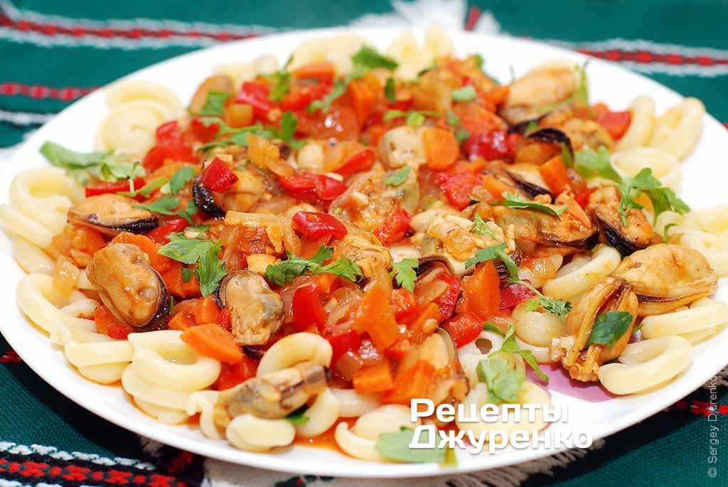 Мидии с овощами рецепт с фото
