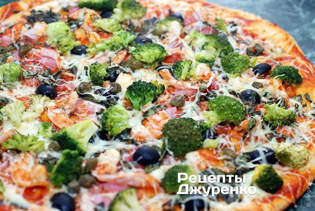 Піца з креветками і брокколі