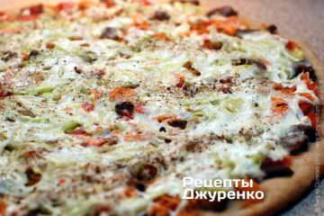 Фото до рецепту: піца з індичкою і грейпфрутом
