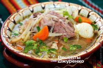Суп с капустой на бульоне из мяса индейки