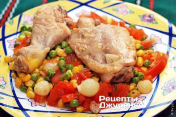 Фото рецепта курица с овощами