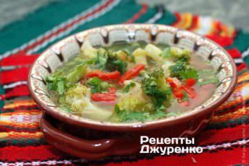Фото рецепта густой суп с овощами и брокколи