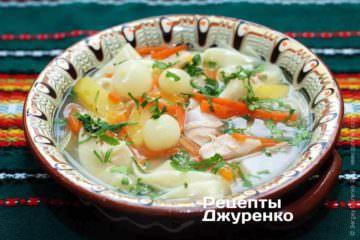 Фото рецепта суп с лапшой