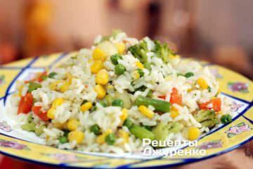 Фото до рецепту: рис та овочі — овочевий рис, гарнір