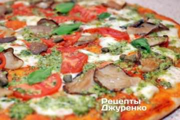 Фото к рецепту: пицца с грибами (вешенки)