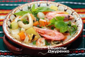 Фото рецепта суп з морепродуктів