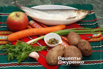 Ингредиенты: селедка, морковь, яблоко, картофель, зеленый лук, петрушка, чеснок, каперсы, оливковое масло, специи
