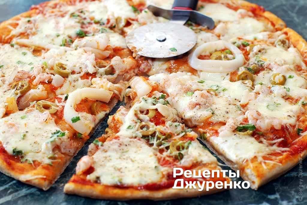 Пицца из кальмаров рецепт