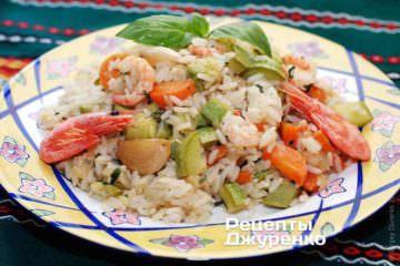 Рис с креветками и кабачками