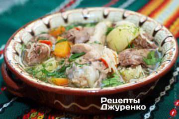 Суп куриный с потрохами