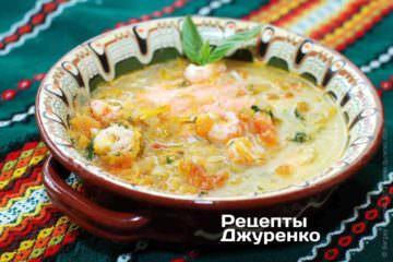 Фото рецепта рибний суп з креветками