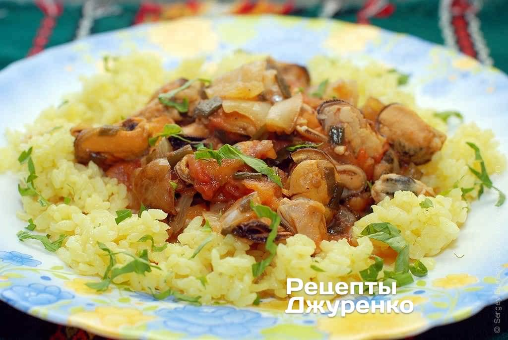 Фото готового рецепта мидии с рисом в домашних условиях