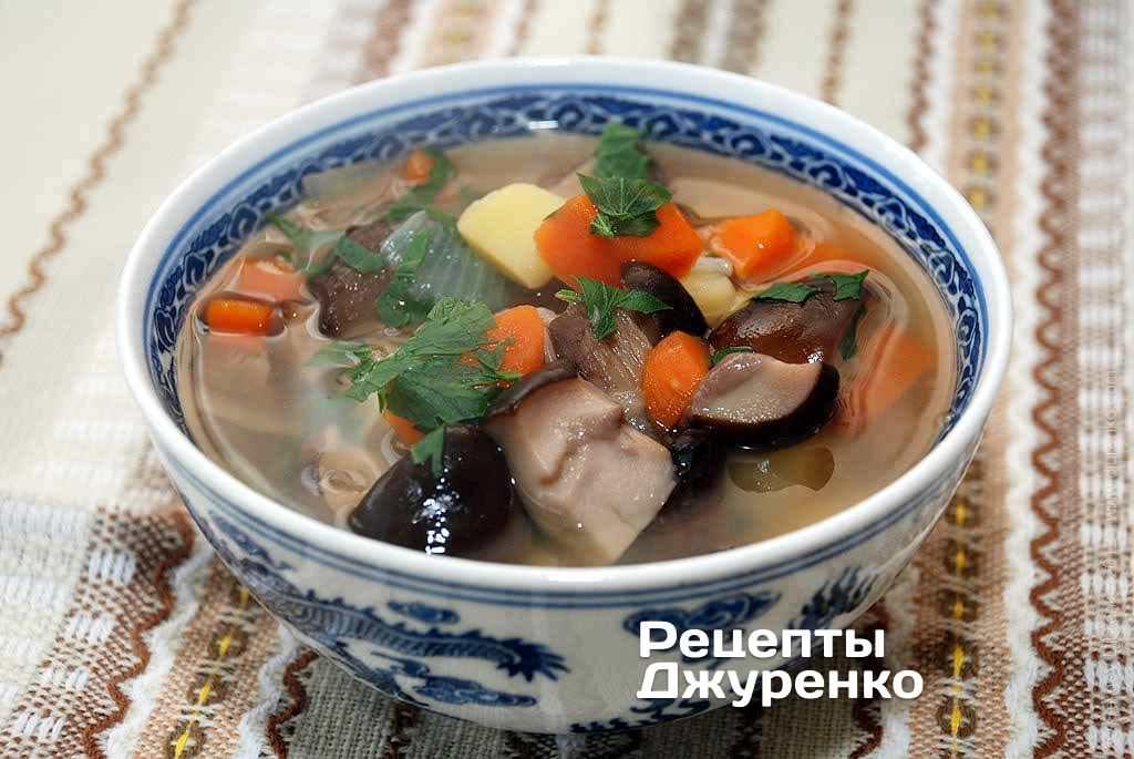 Фото готового рецепта грибной суп в домашних условиях