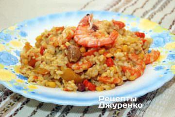Фото рецепта рис с креветками