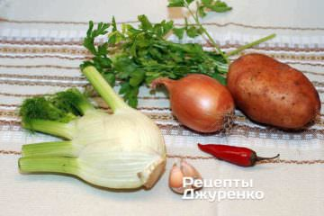 Ингредиенты: морская рыба, креветки, фенхель, лук, картофель, чеснок, острый перец, петрушка, оливковое масло, вино, специи, багет
