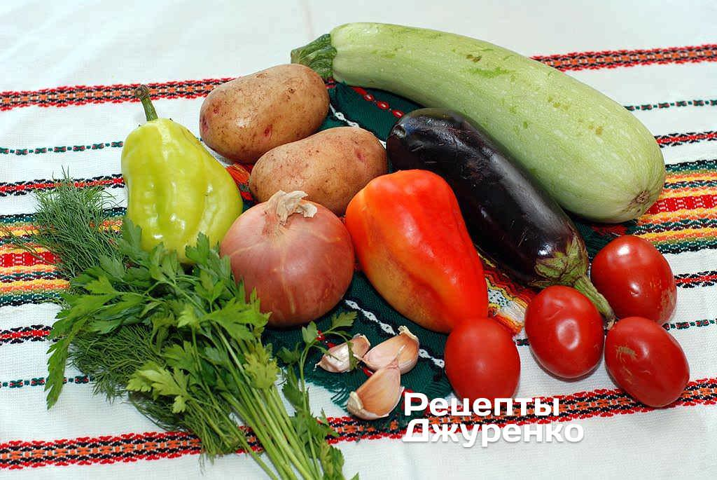 картофель с баклажанами и кабачками в духовке рецепт