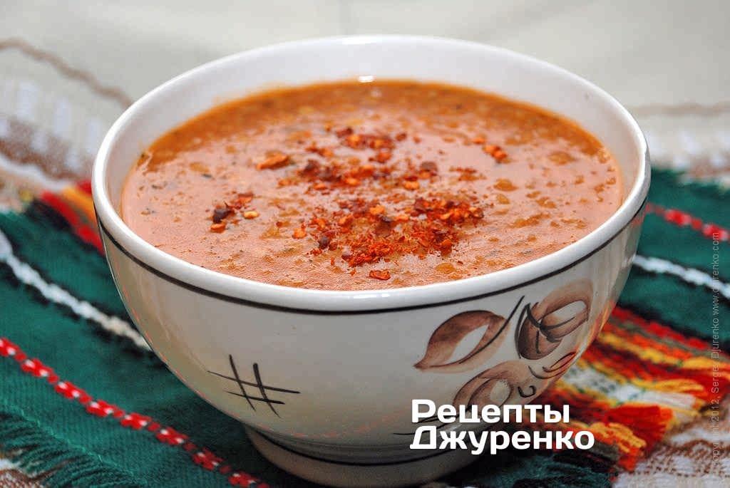 Фото готового рецепта суп из чечевицы в домашних условиях