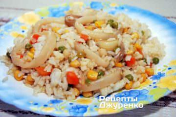 Фото рецепта кальмары с рисом
