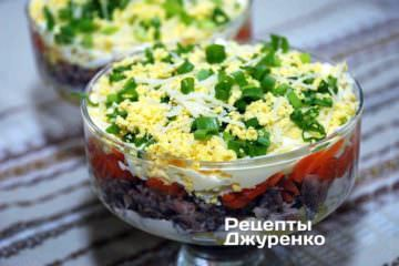 Фото рецепта рыбный слоеный салат