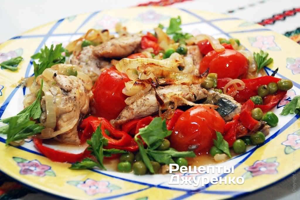 Фото готового рецепта овощи запеченные с рыбой в домашних условиях