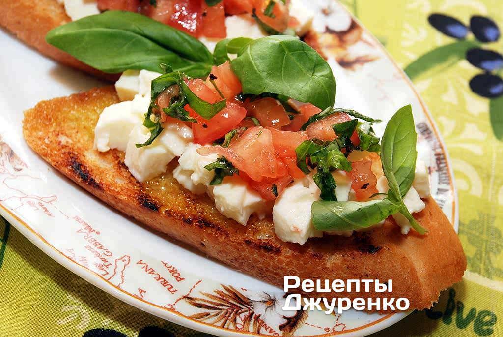 Брускетта с сыром и помидорами рецепт