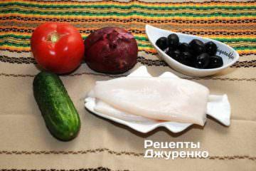 Овощи в салат из кальмаров, кальмары