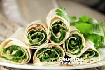 рецепты закусок, холодные закуски, закуски к пиву, салат с кинзой, лаваш с начинкой, закуска из лаваша, лаваш с зеленью