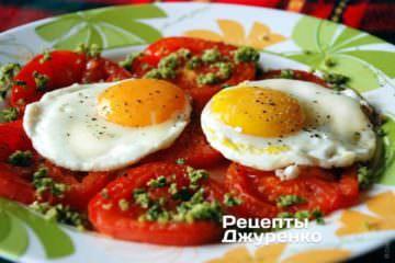 яичница, яичница с помидорами, как приготовить яичницу, яичница рецепт, как сделать яичницу, как готовить яичницу, глазунья, яичница глазунья, яйца жареные, яйца жареные с помидорами