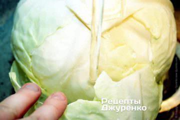 отделить лист от кочана капусты