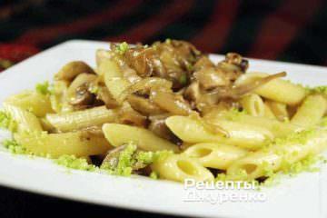 Фото рецепта паста з грибами