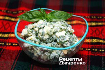 Фото рецепта зелена цибуля з яйцем