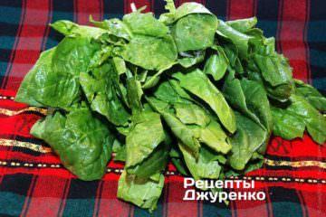 Зеленые листья шпината вымыть