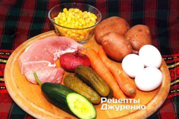 Ингредиенты для салата оливье