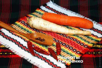 морковка, пастернак, и специи