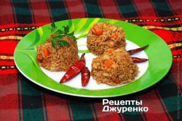 Фото рецепта жареный рис с овощами