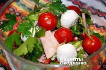 Салат з мясом з добавкою зелені