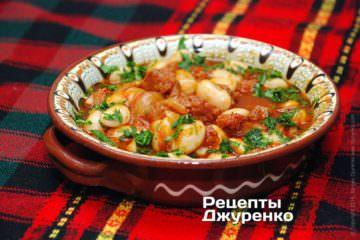 Фото рецепта фасоль с колбасой