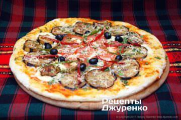 Фото до рецепту: піца з баклажанами
