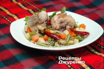 Фото к рецепту: стручковая фасоль с курицей