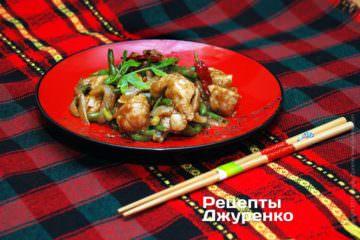 Фото рецепта мясо с фасолью в сладком соусе