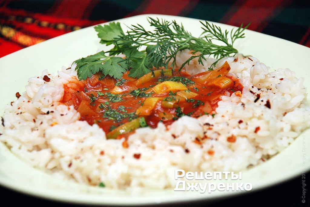 Соус к рису из лука-порея