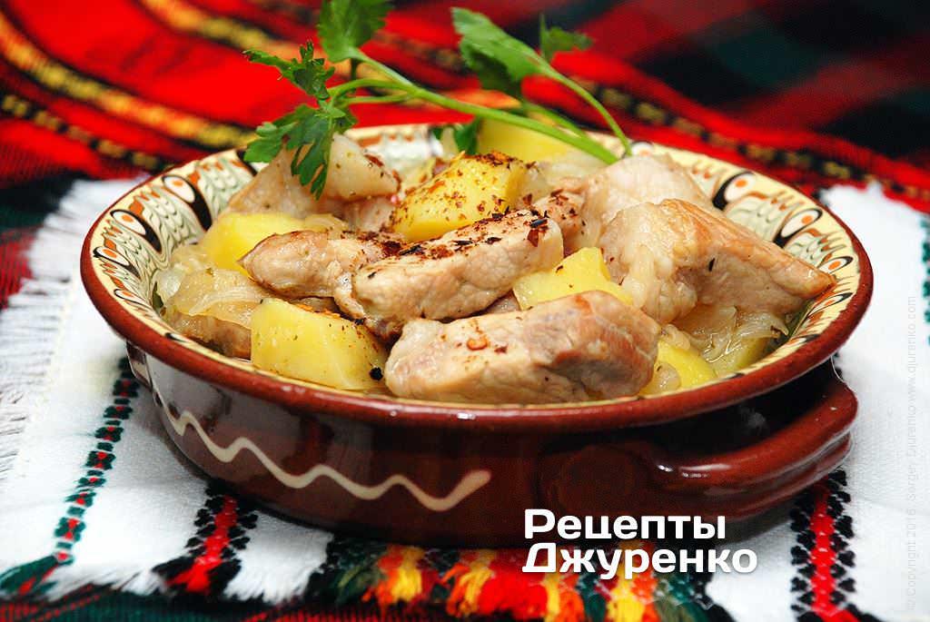 Фото готового рецепту свинина з картоплею в домашніх умовах