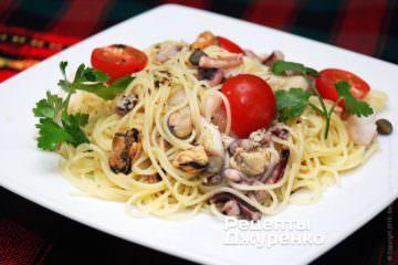 Фото рецепта спагеті з морепродуктами