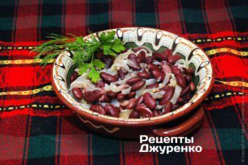 Фото рецепта квасоля з цибулею