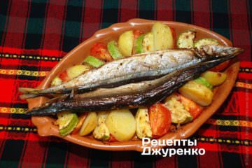 Фото до рецепту: риба запечена у духовці з овочами
