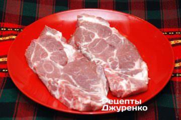 Куски свиного ошейка