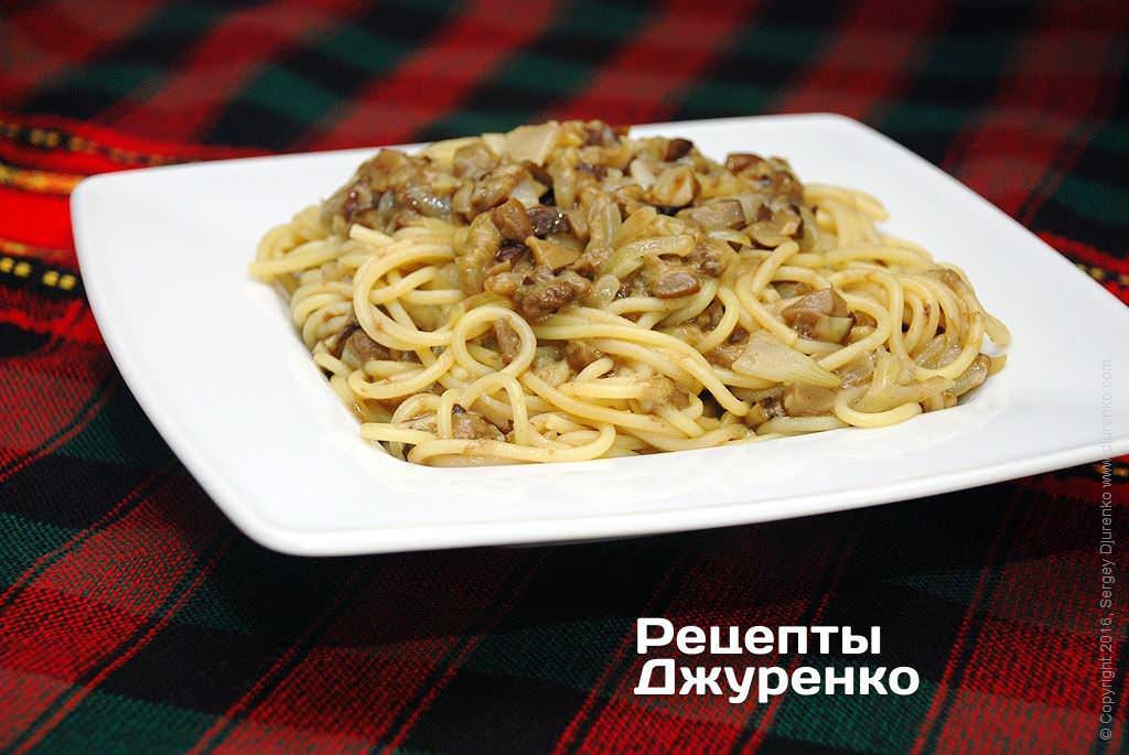 Фото готового рецепту спагетті з грибами в домашніх умовах