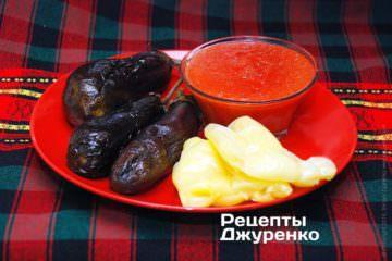 Запекти овочі, подрібнити томати