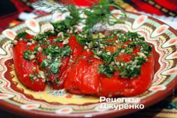 Перец с сыром с зеленью и чесноком