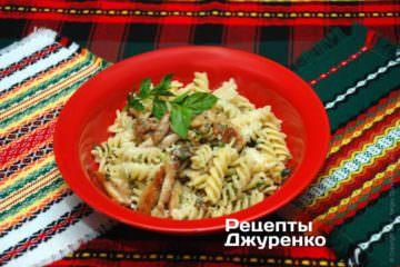 Фото рецепта макароны с курицей